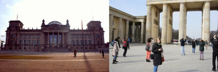 The Bundestag on the left, essential Brandenburg Gate pic on the right (source - Calum)