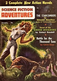 PULP MAGAZINE COVER - SCIENCE FICTION ADVENTURES, DECEMBER 1956