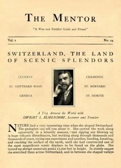 THE MENTOR - SWITZERLAND, THE LAND OF SCENIC SPLENDORS - 1913