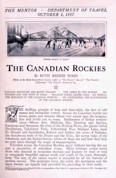 THE CANADIAN ROCKIES - October 1, 1917