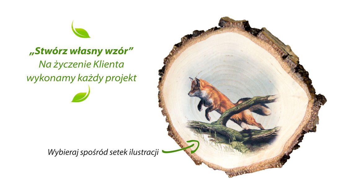 Drewniane plastry z nadrukiem przyrodniczym