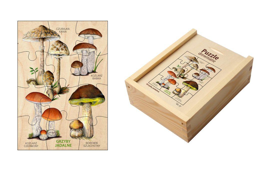 Puzzle drewniane - Grzyby jadalne