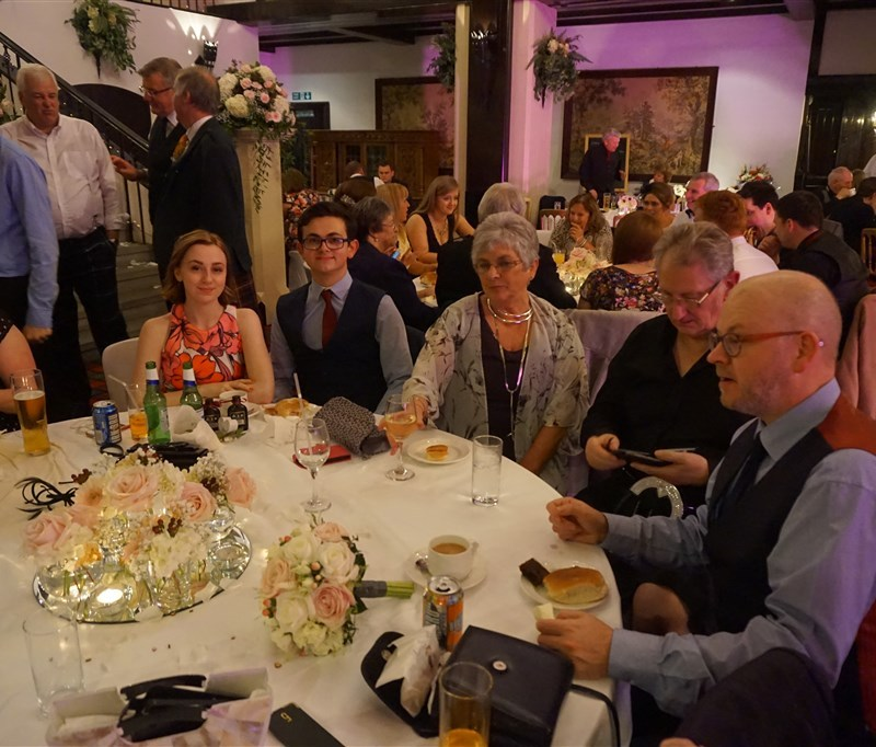 Pulse wedding band Ayrshire & Glasgow in Brig O' Doon Ayrshire wedding guests at table