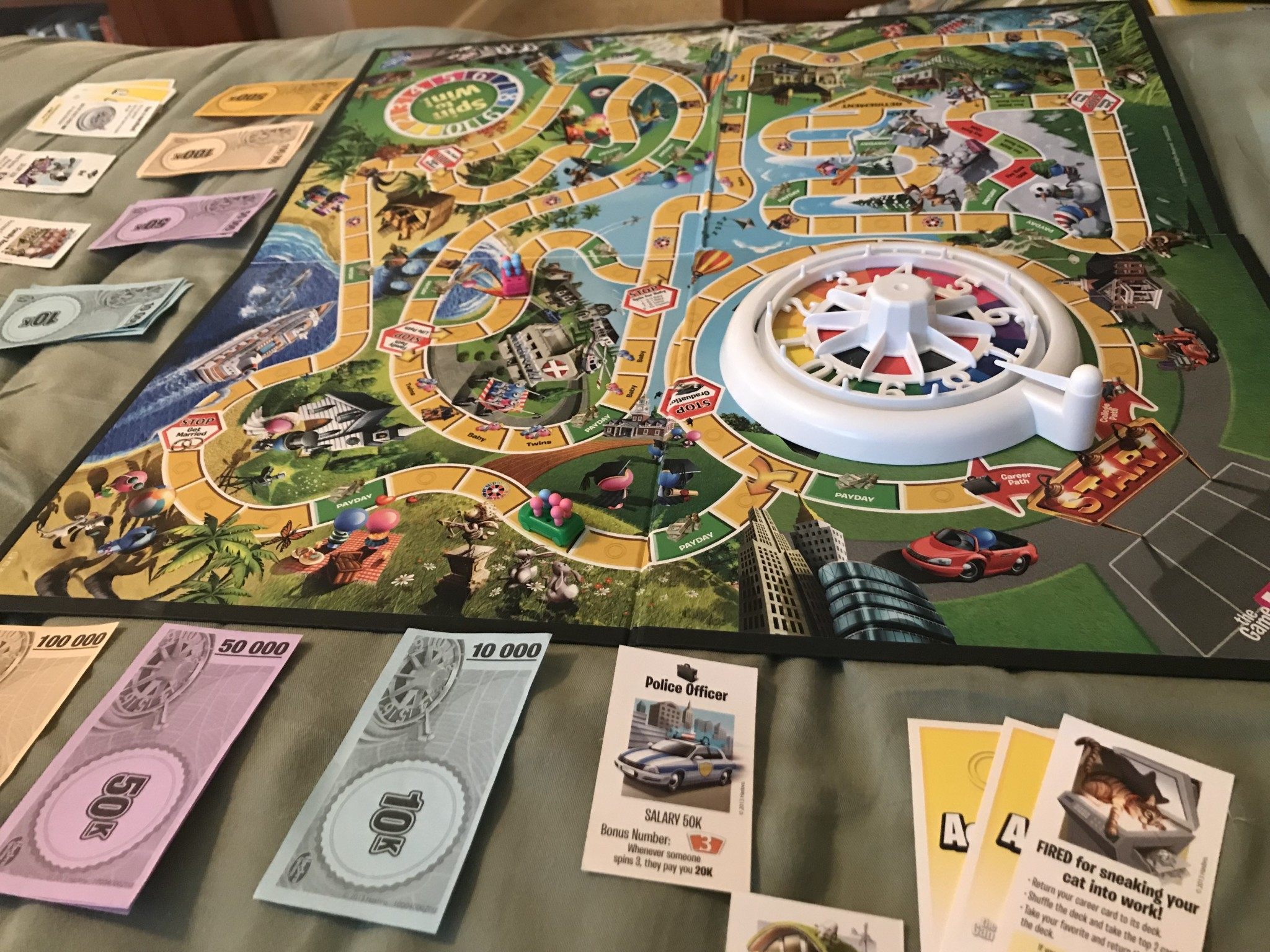 the Game of LIFE Hasbro playing board games with kids
