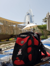 Pulse bag on sun lounger at Wild Wadi Waterpark - Brian Lynam: Wild Wadi Waterpark, Dubai, posted 27 April 2017.