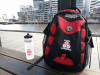 Pulse bottle and bag resting on a bench overlooking a river - Carlos Nunos: Melbourne, posted 8 August 2017.