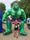 Christine posing with a big Incredible Hulk inflatable - Christine Foster: Xterra Myrtle Beach, posted 23 April 2017.