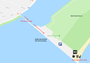 Map showing directions to the Pulse Aquathlon race location.