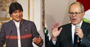 El presidente de Bolivia, Evo Morales, y su par peruano Pedro Pablo Kuczynski . Foto: Internet. (Pie de foto e imagen desde portal www.la-razon.com)