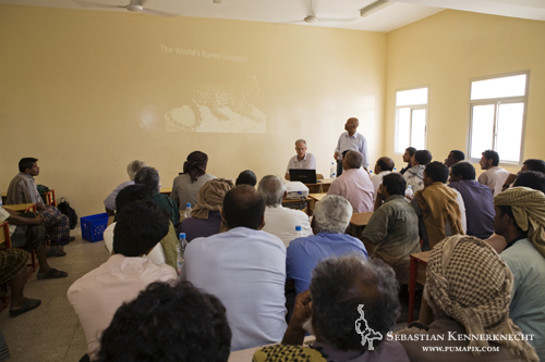 David Stanton and Yousuf Mohageb giving workshop on the benefits of protecting the Arabian Leopard, Hawf Protected Area, Yemen