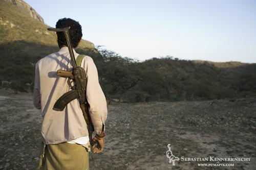 Hunter with Kaloshnikov, Hawf Protected Area, Yemen