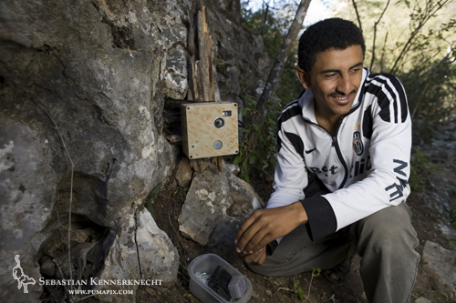 Waleed Al'Rail with Leopard Foundation's camera trap, Hawf, Yemen
