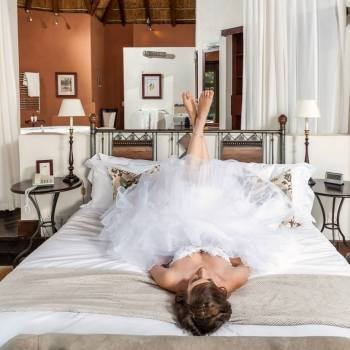Pumba Private Game Reserve Weddings Bride With Her Feet Up