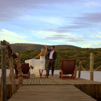 Pumba Private Game Reserve Weddings Water Lodge Wedding Couple Dancing On The Jetty