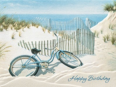 Beach Bike Beach Themed Birthday Note Cards