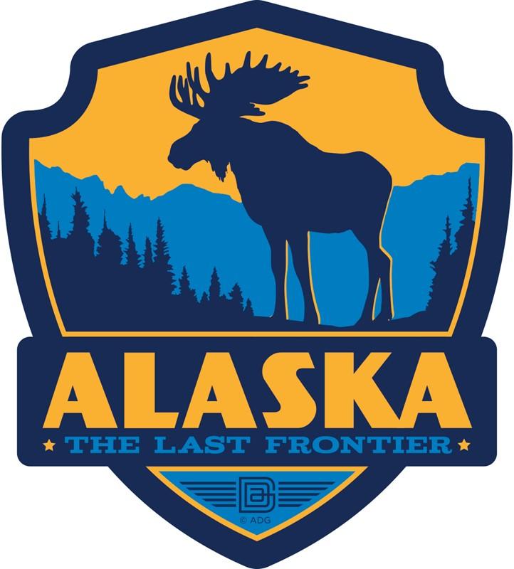 Alaska Moose Emblem Sticker American Made