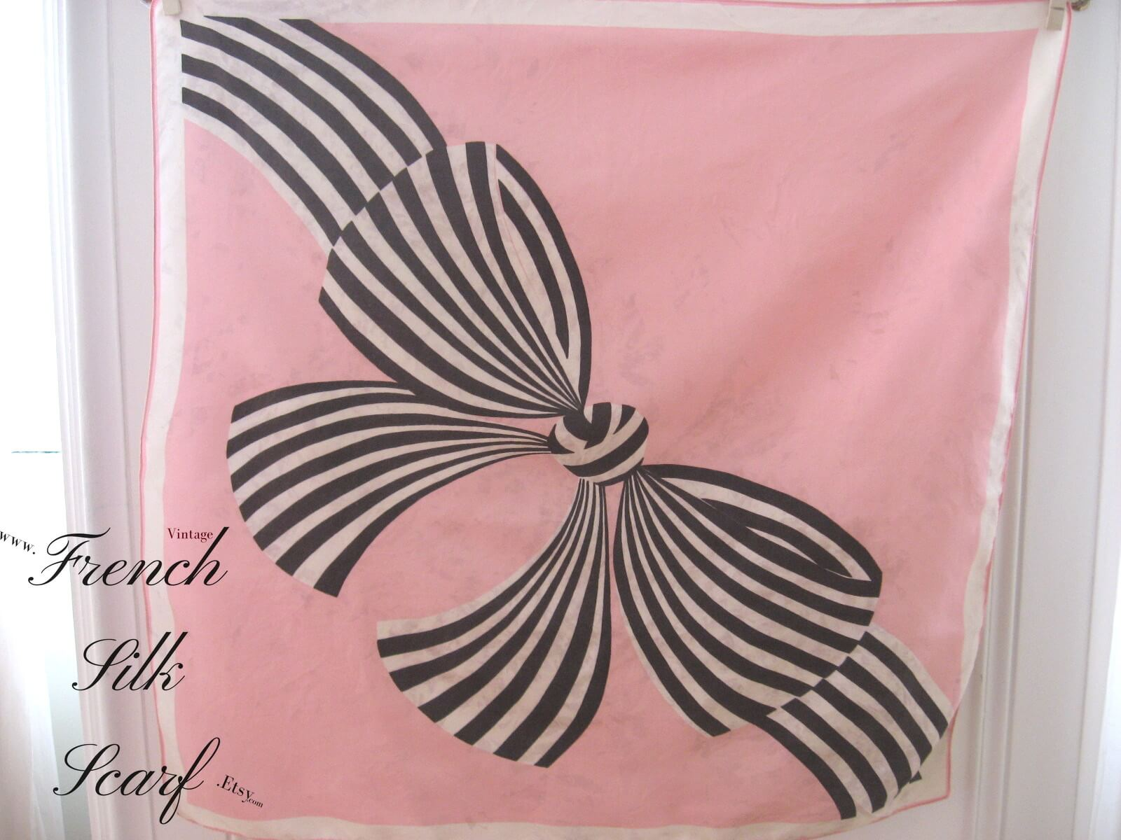 1960s vintage pink with black white bow at FrenchSilkScarf.Etsy