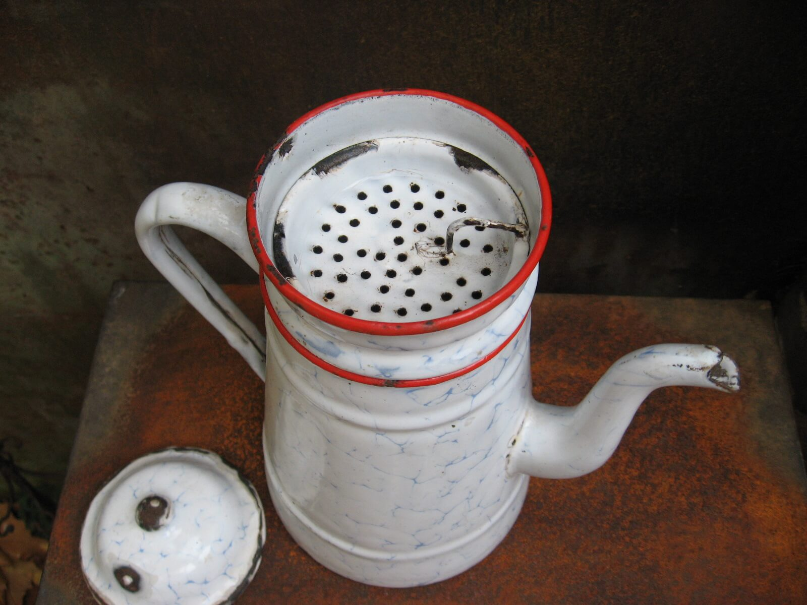 Graniteware enamel 3 part coffee pot at PumpjackPiddlewick