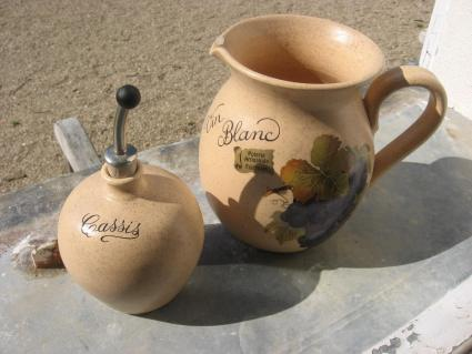 Cassis Vin Blanc Jug serving set Poterie Artisanale Fait Main at PumpjackPiddlewick