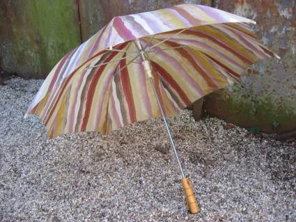 pink earth tones stripes beach umbrella wood handle at PumpjackPiddlewick
