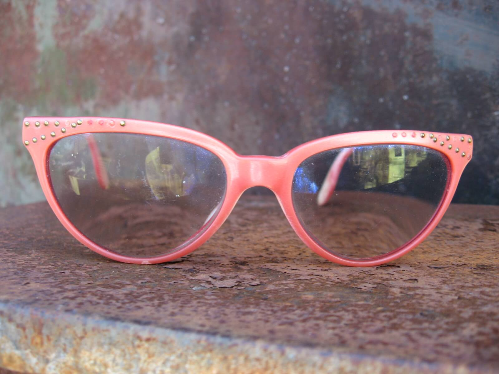 1960s red cateye glasses with metal rinestones_A_PumpjackPiddlewick