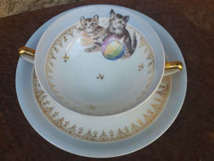 French Limoges coffee bowl and saucer at PumpjackPiddlewick