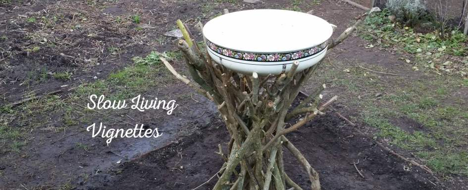 Building a birdbath from branches at PumpjackPiddlewick