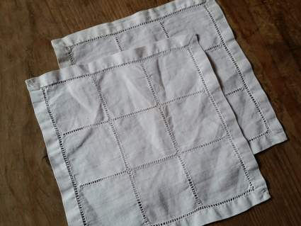Antique French linen handkerchiefs with cut out needle work at PumpjackPiddlewick