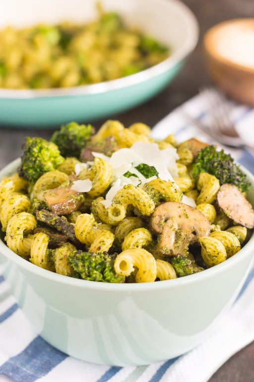 This Basil Pesto Pasta with Broccoli and Mushrooms is an easy dish that's full of flavor. Tender pasta is tossed with basil pesto, sautéed mushroom, and fresh broccoli. It's simple to make and is perfect for busy weeknights!