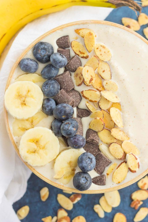Filled with bananas, almond butter, and good-for-you ingredients, this Banana Nut Smoothie Bowl is a delicious way to start your day. Add your favorite toppings and your healthy, protein-filled bowl makes a deliciously simple breakfast or snack!