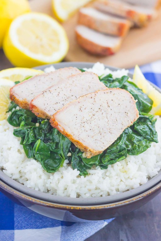 This GrilledGarlic Herb Pork Bowl is an easy meal that's loaded with flavor. Marinated pork loin filet is prepared on the grill and then tossed withsome white rice and sautéed spinach. Simple to make a perfect for busy weeknights, this hearty dinner is sure to be a favorite all year long!