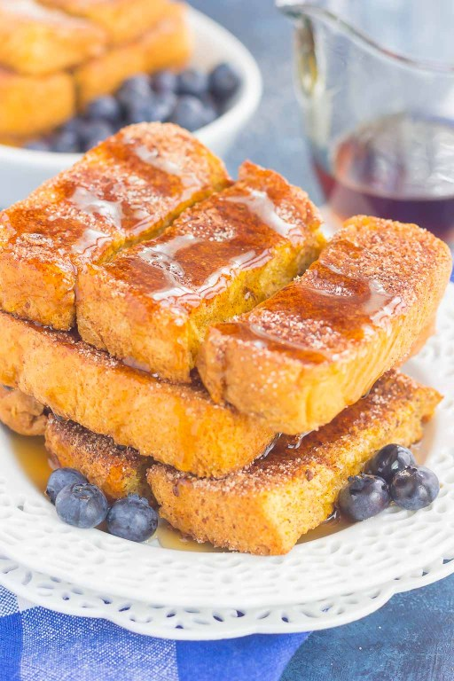 Baked Cinnamon SugarFrench Toast Sticks make an easy breakfast that's loaded withflavor. Simple to prepare and baked in the oven, you can have these sticks ready to serve in no time, witha side ofsyrup for dunking!