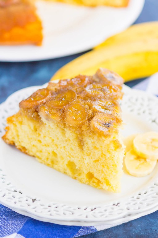 This Banana Upside Down Cake is a simple, one bowl recipe that's ready in less than an hour. The caramelized banana and brown sugar topping gives the buttery cake the perfect amount of flavor. And you'll never guess that this was made from a cake mix, which makes this dessert extra easy! #bananacake #upsidedowncake #bananaupsidedowncake