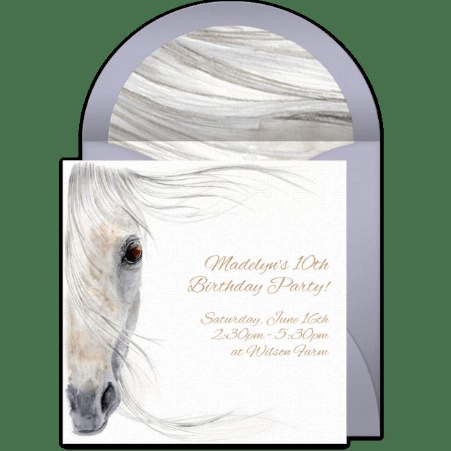 free beautiful horse online invitation