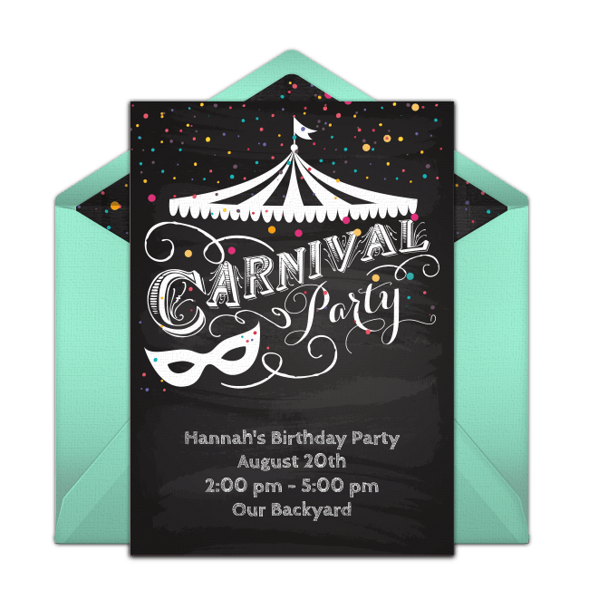 free carnival party online invitation