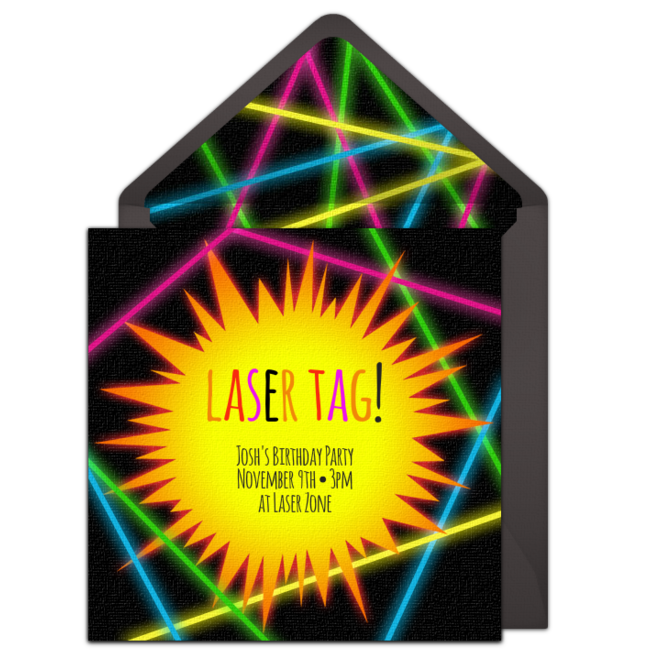 free laser tag online invitation