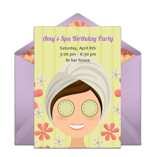 free spa party online invitation