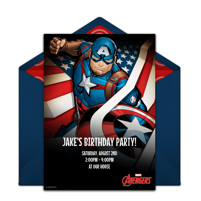 Free Avengers Captain America Online Invitation Punchbowl Com