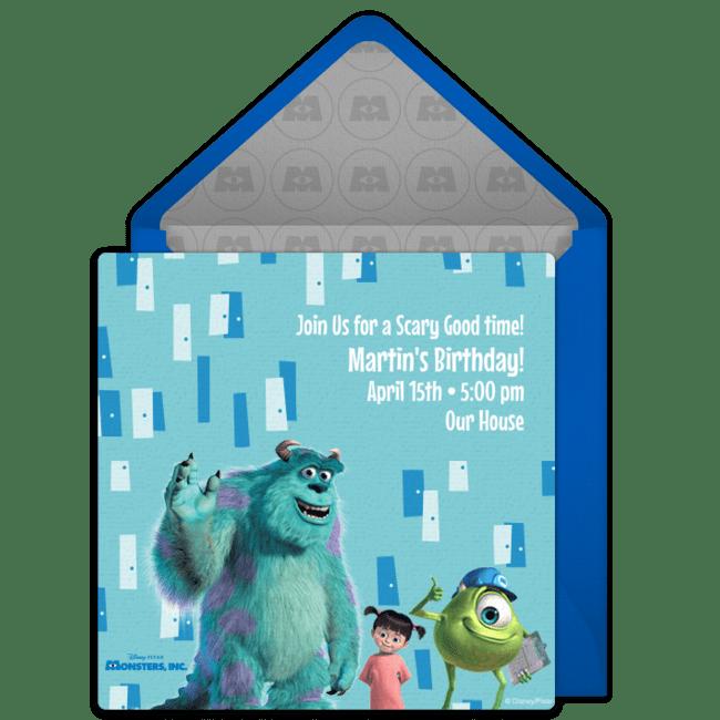 Free Monsters Inc Online Invitation Punchbowl Com