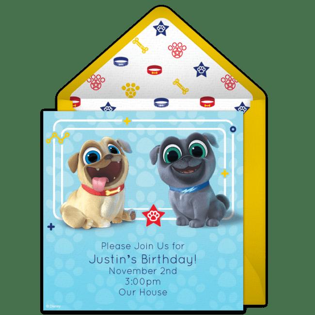 free puppy dog pals online invitation