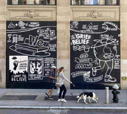 Soho's Boarded-Up Storefronts Have Become Canvases and Sounding Boards