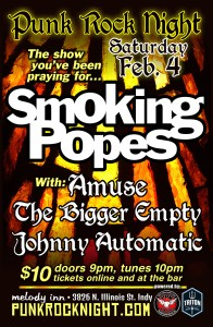 SMOKING POPES with Amuse, The Bigger Empty, and Johnny Automatic @ The Melody Inn | Indianapolis | Indiana | United States
