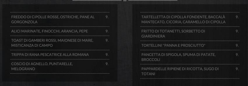Per Me menu Roma Terrinoni Tappi