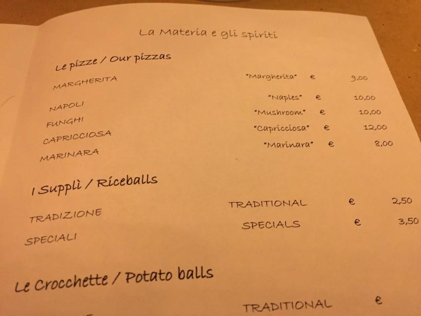 biglietto prego roma menu