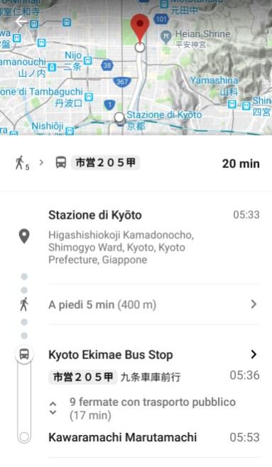 Tragitto autobus di Kyoto su Google Maps