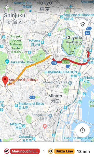 Tragitto metro di Tokyo su Google maps