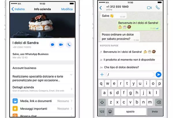 Screenshot per WhatsApp Business su iPhone