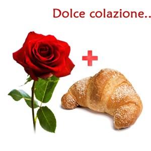 rosa rossa e cornetto caldo per colazione