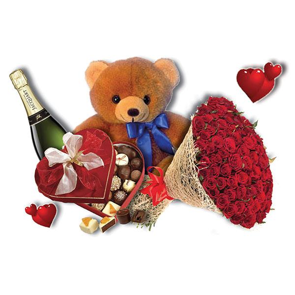 100 rose rosse orsacchiotto scatola di cioccolatini a forma di cuore e champagne