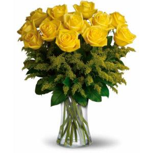 consegna a domicilio 12 rose gialle online